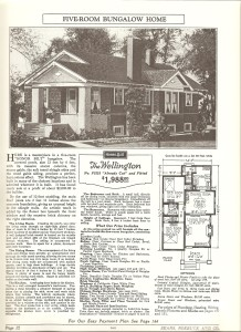 The Wellington Model from the Sears catalog, touting its massive stucco columns and artistic touches.